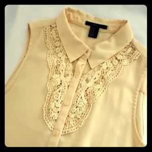 Bohemian Chic Mesh & Lace Button Up
